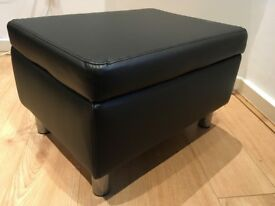 Leather Effect Footstool - Black