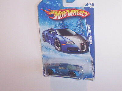 HOT WHEELS BUGATTI VEYRON SUPERCAR SATIN BLUE ON SNOWFLAKE CARD NEW IN PACKAGE