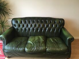 Chesterfield - 3 seater - green leather