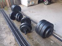 Gym weights up to 50kg, good condition