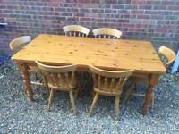 6ft Solid Pine Dining Table With 6 Chairs