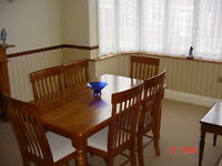 PINE DINING TABLE & SIX CHAIRS