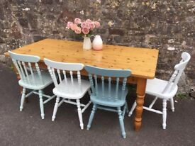 Various farmhouse tables for sale and chairs