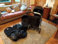 Babystyle Oyster pram and stroller including accessory bag, foot muff and rain cover for both