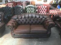Stunning Thomas Lloyd brown leather chesterfield 2 seater sofa Uk delivery
