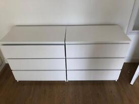 White gloss chest of drawers