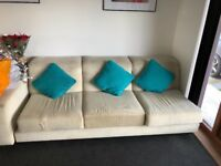 Large cream upholstered sofa set