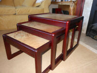 Nest of 3 coffee tables, wood frame with tiled tops