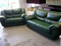 2 Piece Suite. 3 and 2 Seater Green Leather Settees Sofas. Very good Condition
