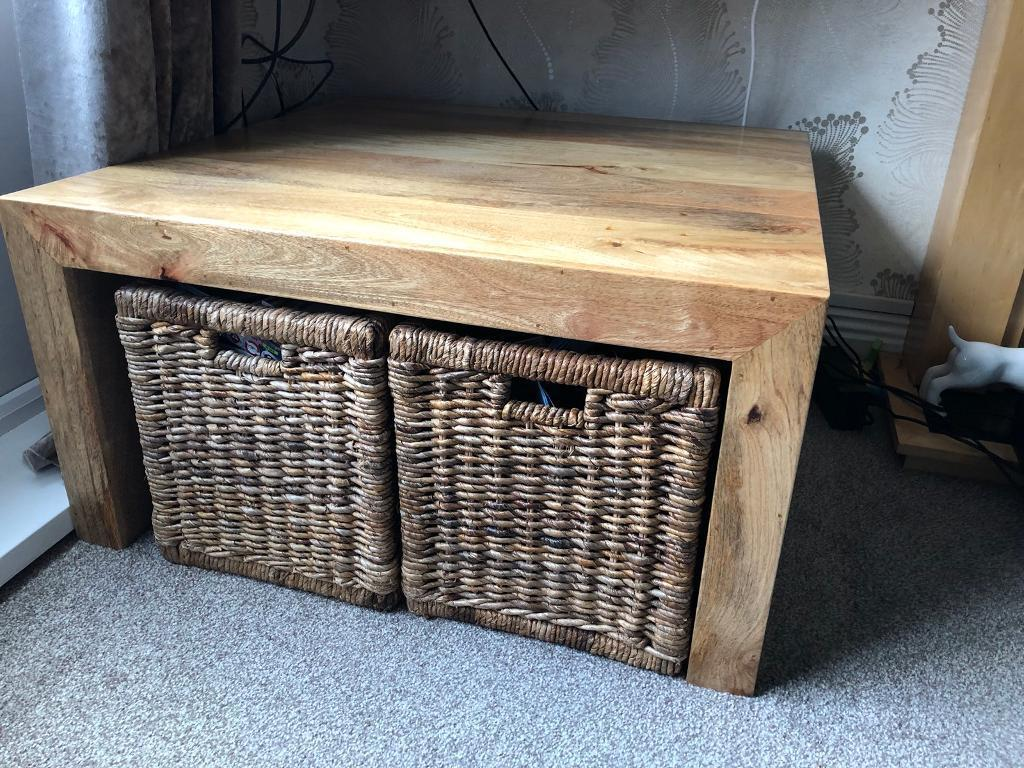 Mango wood light large coffee table and baskets in cramlington northumberland gumtree Coffee table baskets