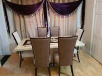 Almost New Harveys Marble Table and 6 Chairs - 6 Months Old