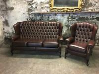 Quality Leather Chesterfield Suite