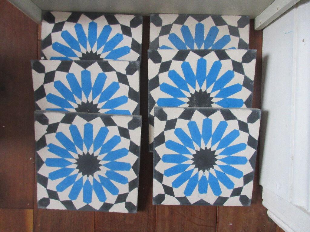 Encaustic tiles, Moroccan tiles for bathroom splashback blue white ...