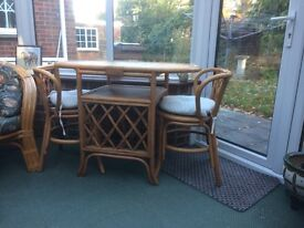 Cane table and chairs