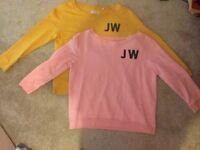 2 pink and yellow jack wills jumpers size 14