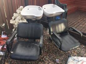Leather salon chairs..