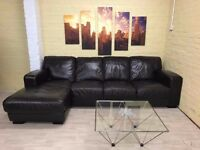 Chocolate Brown Leather Corner Sofa