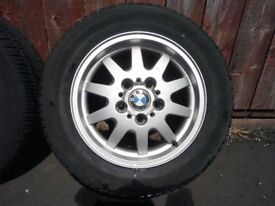 4 X 15 BMW ALLOYS WITH NEARLY NEW TYRES MATCHING