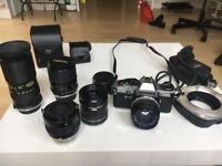 Olympus OM10 w/ various lenses + extras