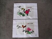 A pair of 1970's Oriental Chinese Embroidery on Silk styled Pictures as New