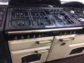 Black & cream leisure 90cm five burners gas cooker grill & double ovens good condition with guaran