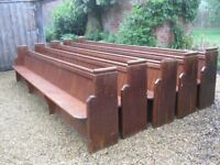 4.3m LONG PINE CHURCH PEWS. Also for sale : monks bench, table, chapel chairs pine cupboard.