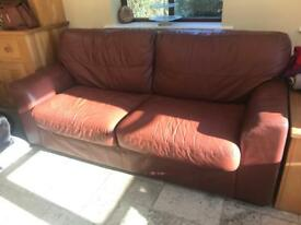 Brown full leather 3 seater sofa