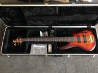 Ibanez SR 805 whisky burst 5 string bass guitar and case