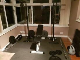 Olympic 140kg Weight plus Professional Bench/Squat Rack plus extras