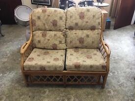 2 seater cane sofa & table