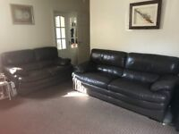 Preloved brown 3 seater and 2 seater leather sofas for sale
