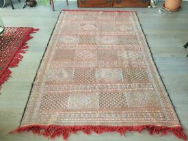 Original Hand Made Antique Moroccan Carpet Kilim Rug - Large
