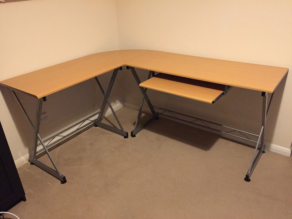Large Corner Computer Desk With Keyboard Shelf For Home Office In Beech Effect Fully Reversible