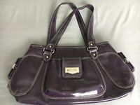 Purple vinyl Paton shoulder bag with pockets inside and outside