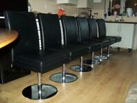 6 x dining chairs made by hulste black leather and chrome