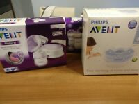 Philips Avent electric breast pump plus extra bottles and microwave steriliser