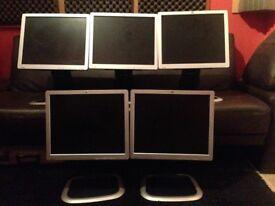 5 HP L1750 17 inch Monitors