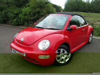 VW Beetle 1.4 Cabriolet 2dr 65k BRIGHT RED Full Service History