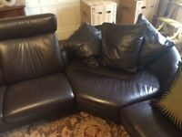 Ekornes stressless brown leather corner sofa with large footstool
