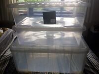 Set of 4 extra large storage boxes with lids - underbed storage