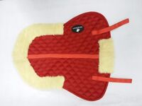 New Cotton Quilted Half Saddle Pad Synthetic Sheepskin Fur Lined(Red, Blue,White)