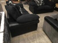 New black and navy 3 + 2 sofa suite
