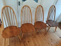 4 x Ercol 365 Blonde Quaker dining chairs
