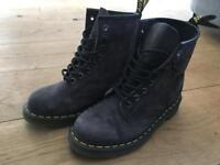 Dr. Martens Grey Suede Air Wair Boots with bouncing soles Size 4UK