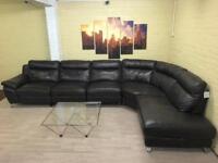 HUGE Family Brown Leather Corner Sofa