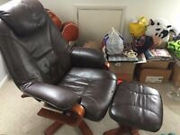 Bonded Leather 'Bjorn' Recliner Chair & Foot-stool
