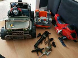 Action man and vehicles