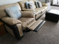 BEIGE AND BROWN LEATHER SOFA SET