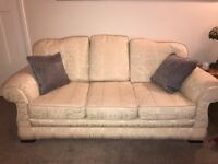 Dansk 3 seater and matching 2 seater cream fabric sofas