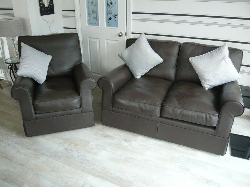 MARKS & SPENCER LEATHER SETTEE & ARMCHAIR. CAN DELIVER ...
